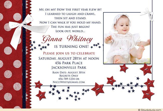 Summer Stars 1st Birthday Invitation Starry Babys Photo Wording – Wording for 1st Birthday Invitation
