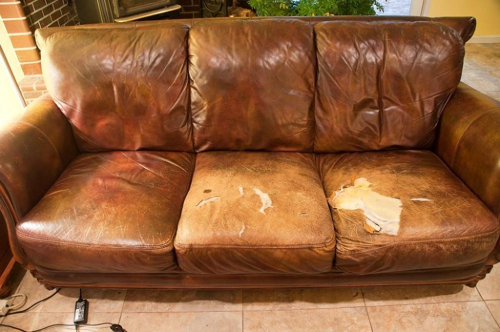 Easy quick fix for a battered couch leather couch repair