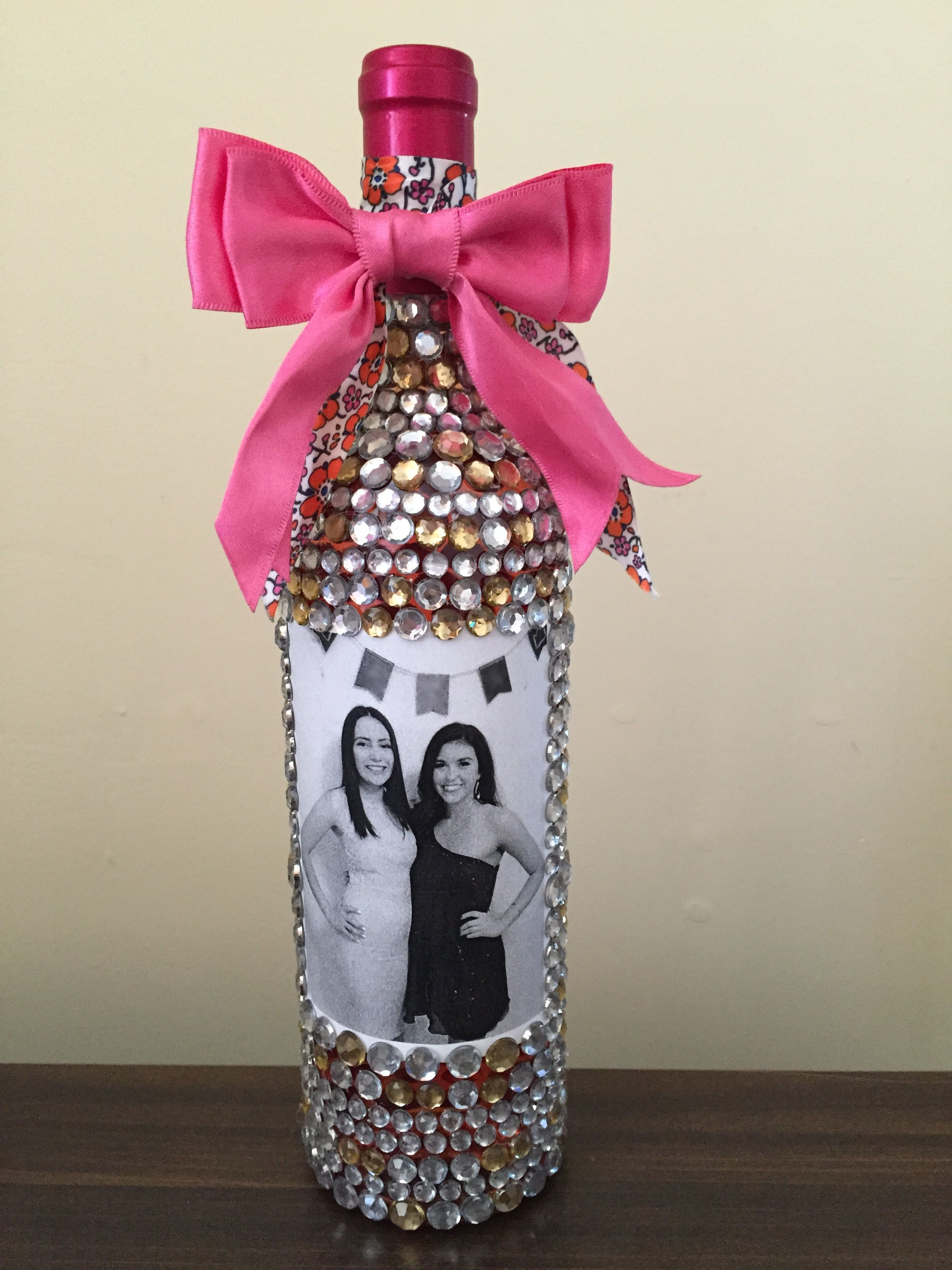 Very Intricate But Absolutely Worth It For My Best Friends 21st Birthday Bedazzled Wine Bottle Present Girls