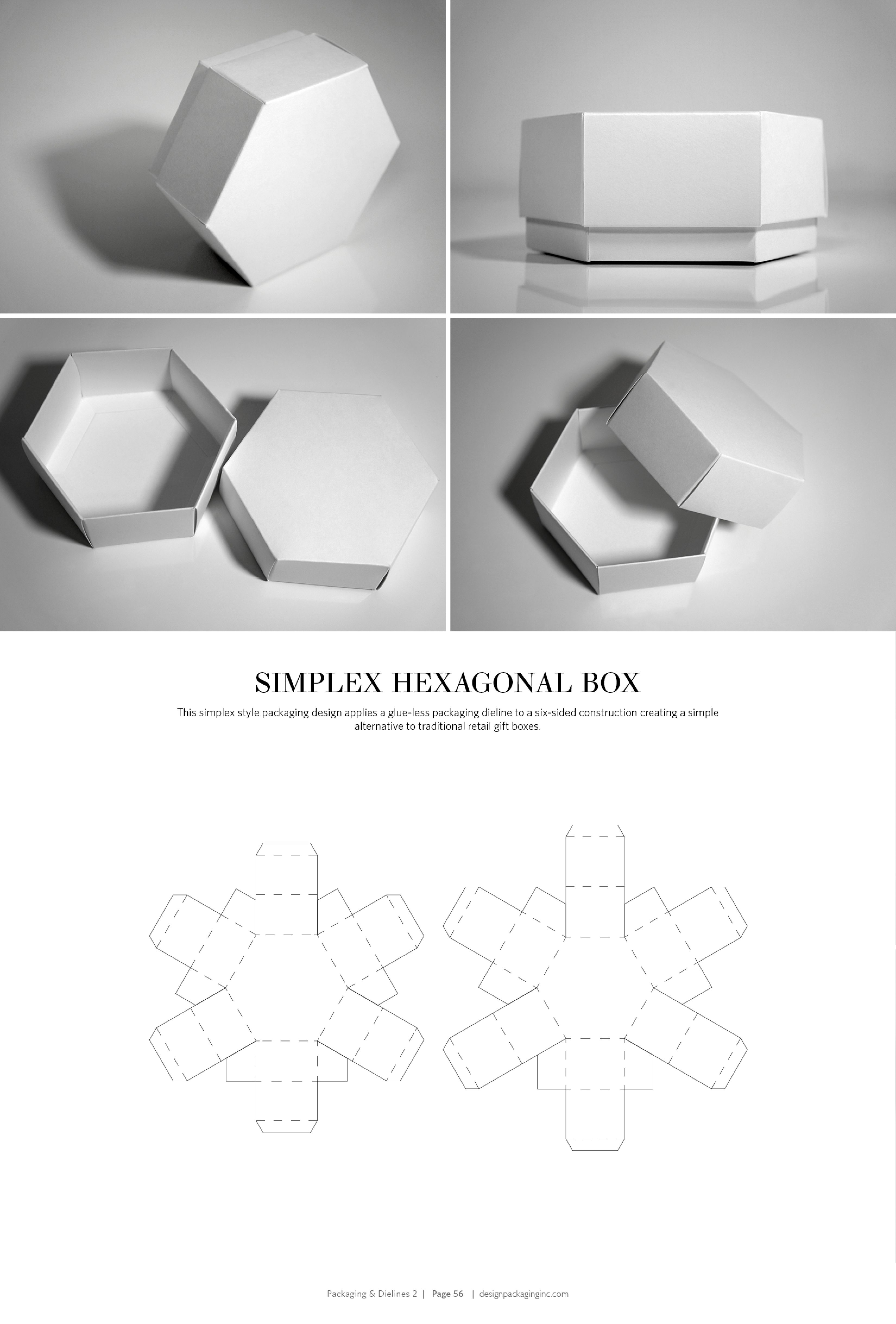 Simplex Hexagonal Box – structural packaging design dielines