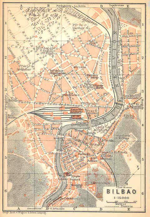 BILBAO Spain BILBAO Old Vintage City Map Plan 1913 Paesi
