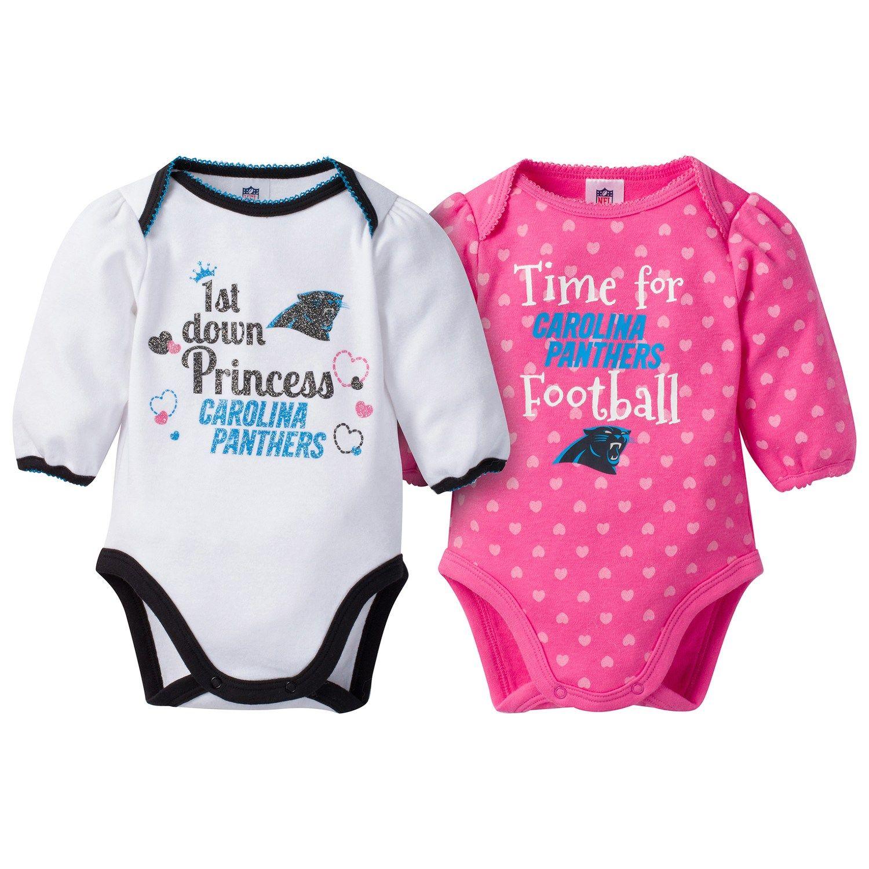 18587b32 Baby Girl Carolina Panthers 2-Pack Football Bodysuit Set | Design ...