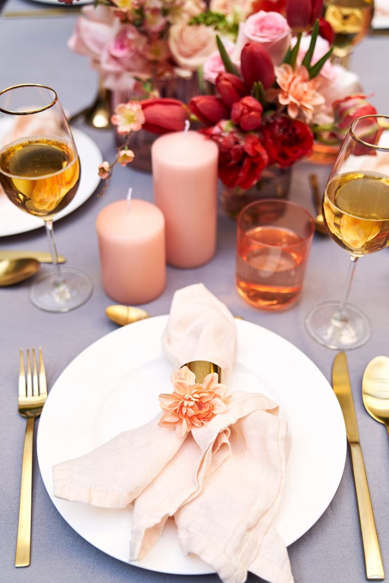 Inspiration In Living Coral Dream Wedding Table