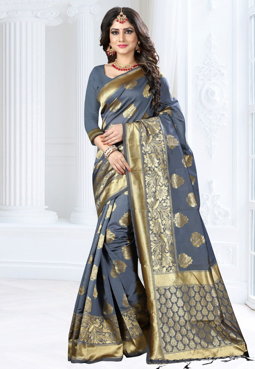 0d01e6d181 Buy Gray Banarasi Silk Festival Wear Saree 155345 with blouse online at  lowest price from vast collection of sarees at Indianclothstore.com.