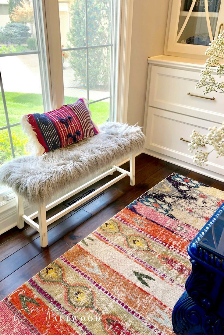 How to's : #workfromhome My Fun Colorful Home Office Ideas with a DIY Gray Faux Fur Bench by Jennifer Allwood | Luxe and Lived in | Comfy Glam Style | Home Decor Ideas | Boho Office Decorating Ideas | Grey | Faux Fur Bench Cover | Upcycle | Bench Upgrade | #garagesa