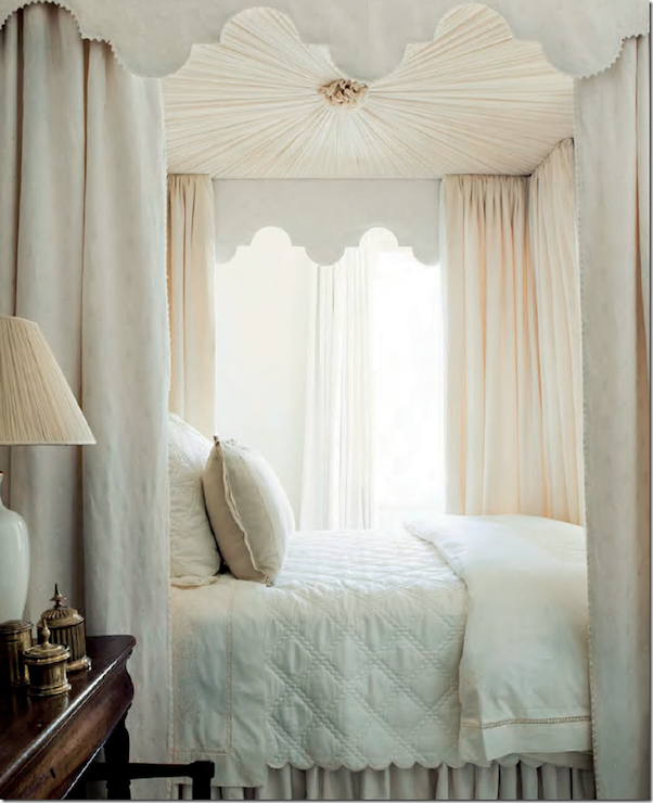 Elegant bedroom features canopy bed with upholstered pink canopy ceiling and scalloped valances paired with ivory & Elegant bedroom features canopy bed with upholstered pink canopy ...