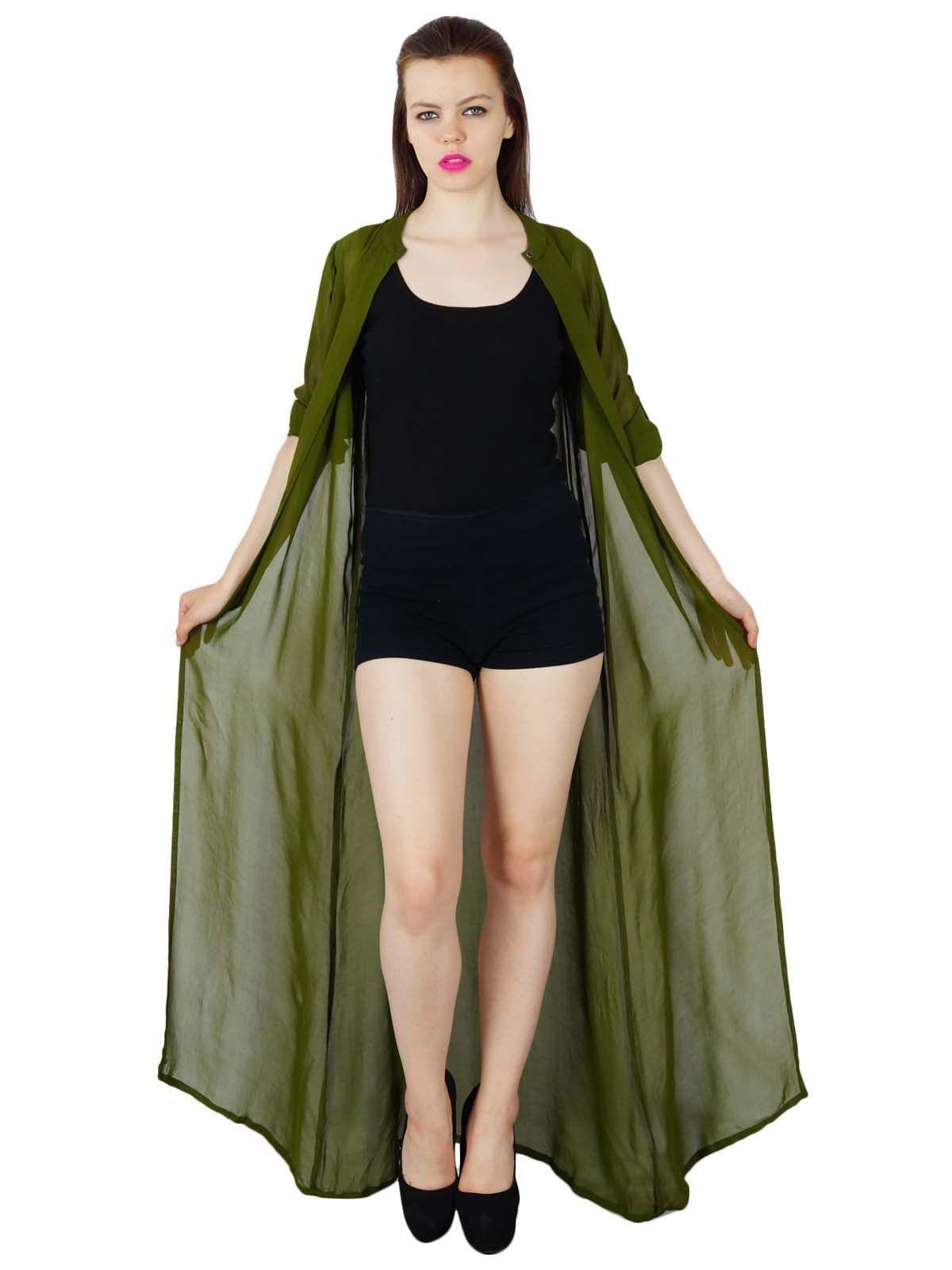 5cbe74737b186c Bimba Women Long Green Shrug 3 4 Sleeve Caual Coverup Georgette Maxi ...