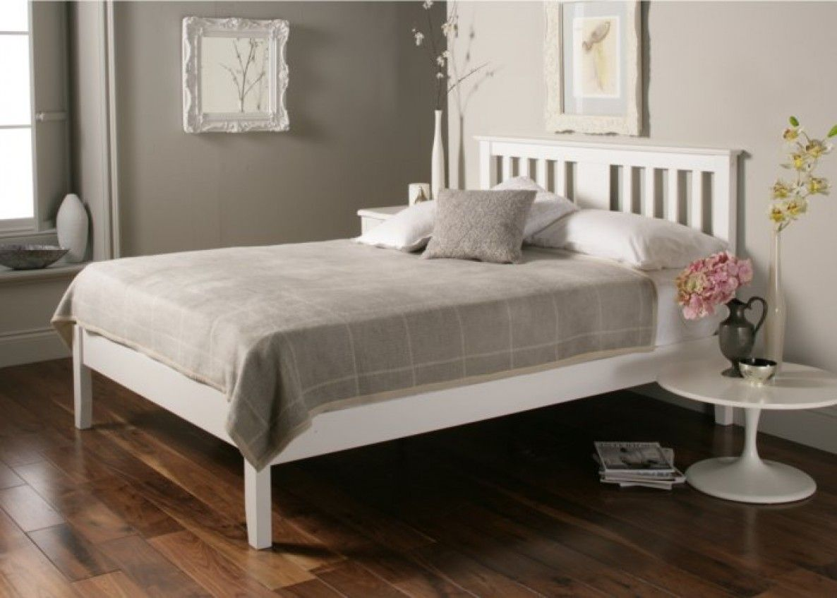 White Bed Frames malmo white wooden bed frame - double bed frame only | furniture