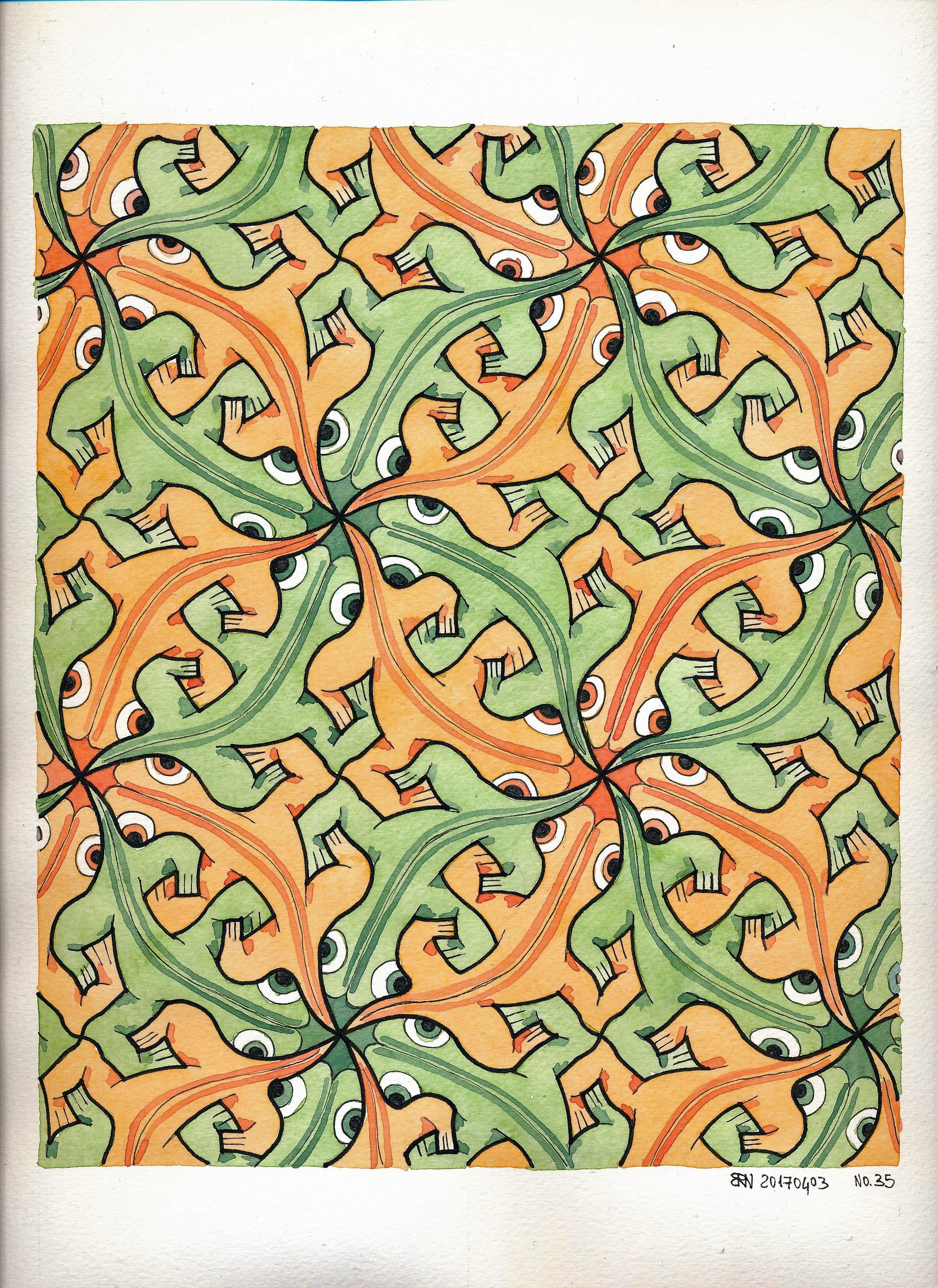 Escher tessellations birds visit m c escher tessellations art mc escher geometry pattern cornelius reptiles coloring pages lizards doublecrazyfo Images