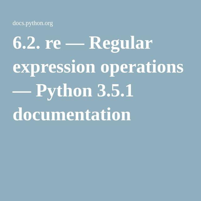 6 2 Re Regular Expression Operations Python 3 5 1 Documentation Regular Expression Expressions Python Ideas