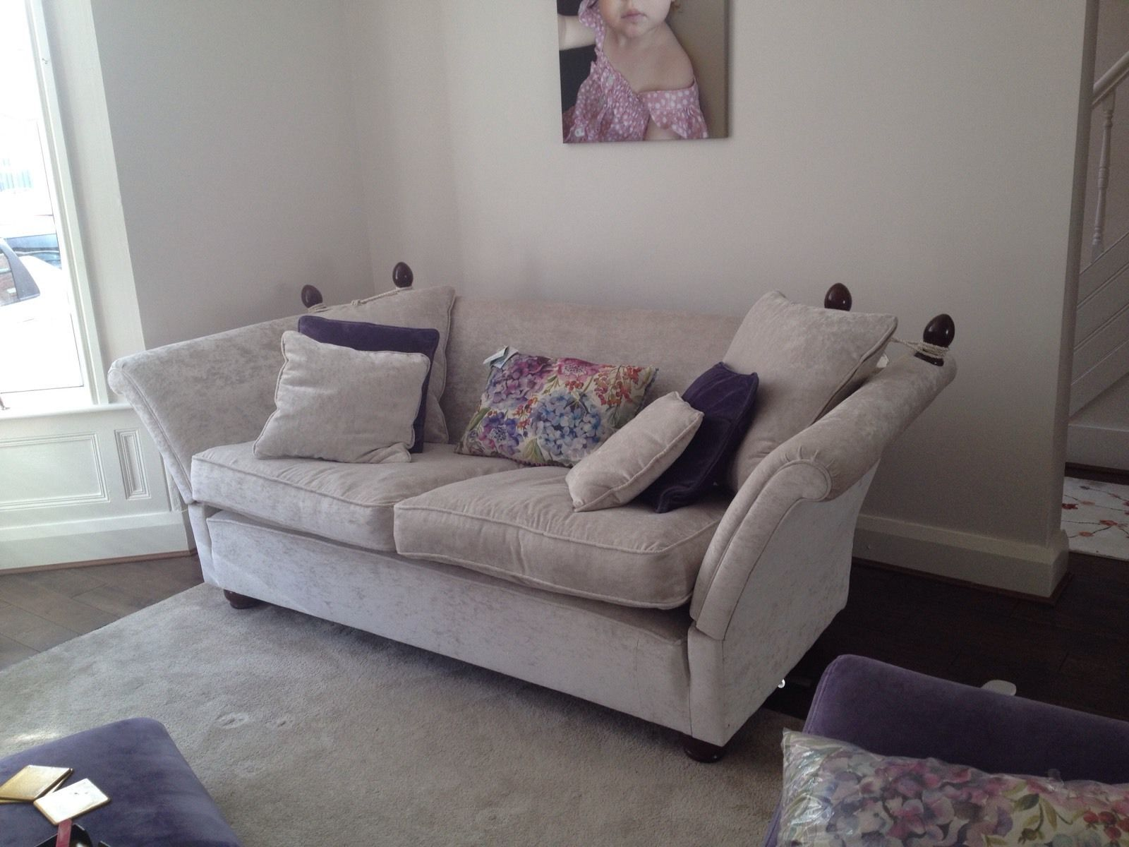 Knole Sofa settee silver crushed velvet chenille bespoke with drop
