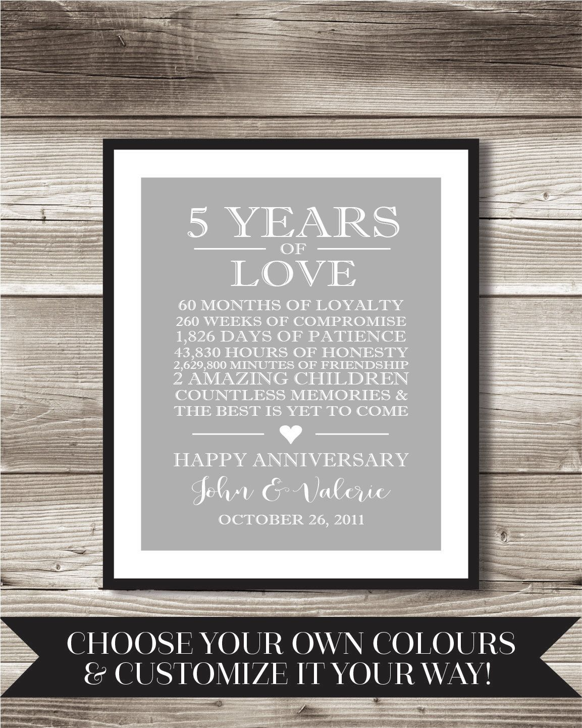 5 year anniversary digital print choose your own words