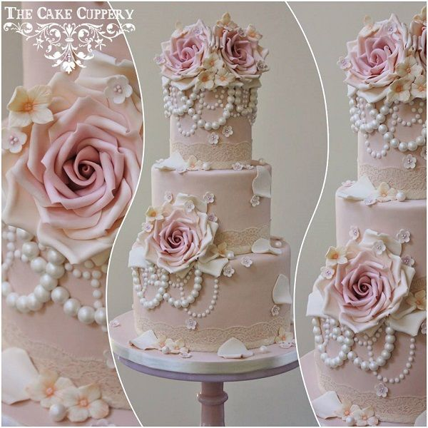 Vintage Pearls Wedding Cake By The Cake Cuppery Beautifully