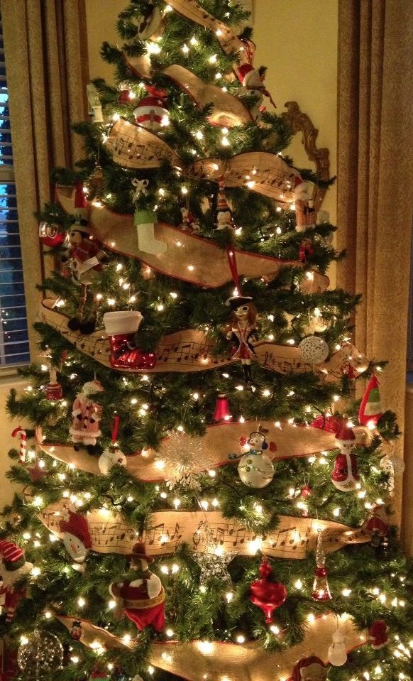 Christmas tree with burlap ribbon from Marshalls