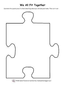 We All Fit Together Clbuilding Activity Teacherspayteachers Puzzle Piece Template Peice