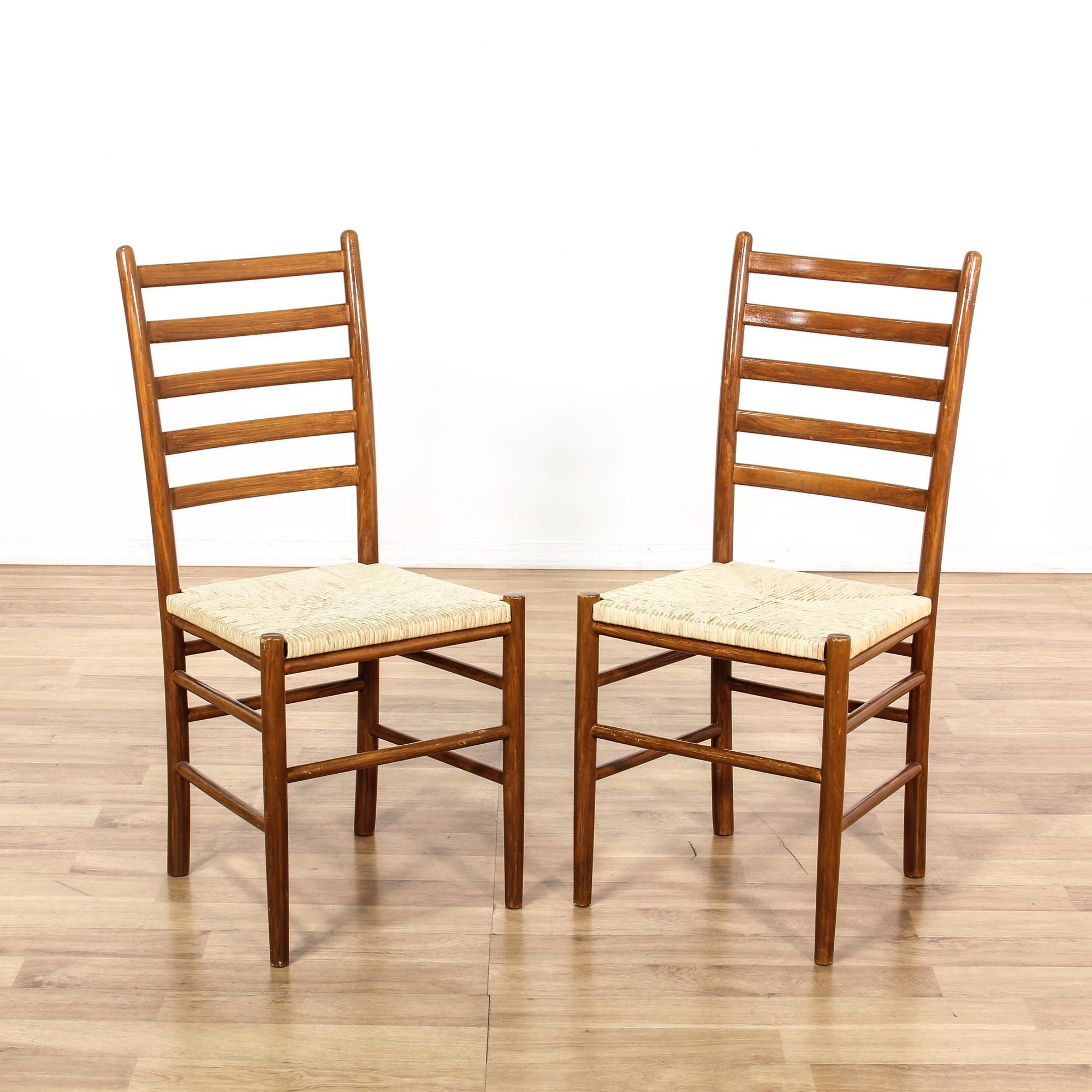 Pair Danish Modern Ladder Back Rush Chairs
