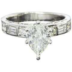 Pear Shaped Diamond Gold Engagement Ring
