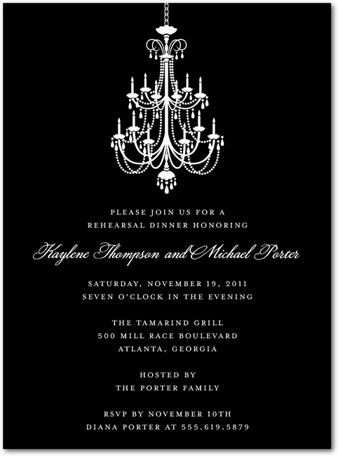 Chandelierblack russian franna wedding pinterest rehearsal chandelier signature white rehearsal dinner invitations with square corners mozeypictures Image collections
