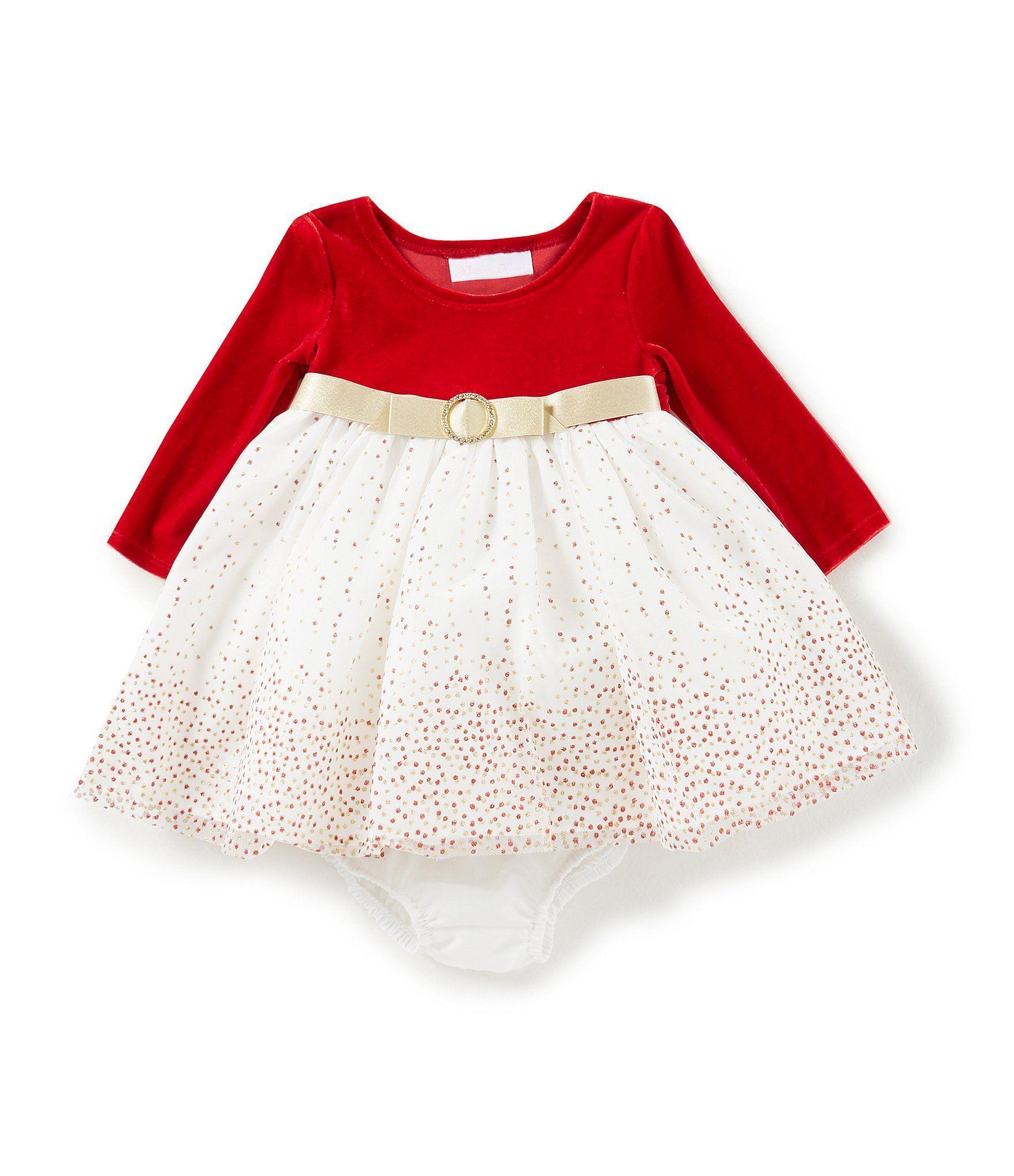 67f5d0f29 Bonnie Baby Baby Girls Newborn24 Months Christmas VelvetGlitterDot ...