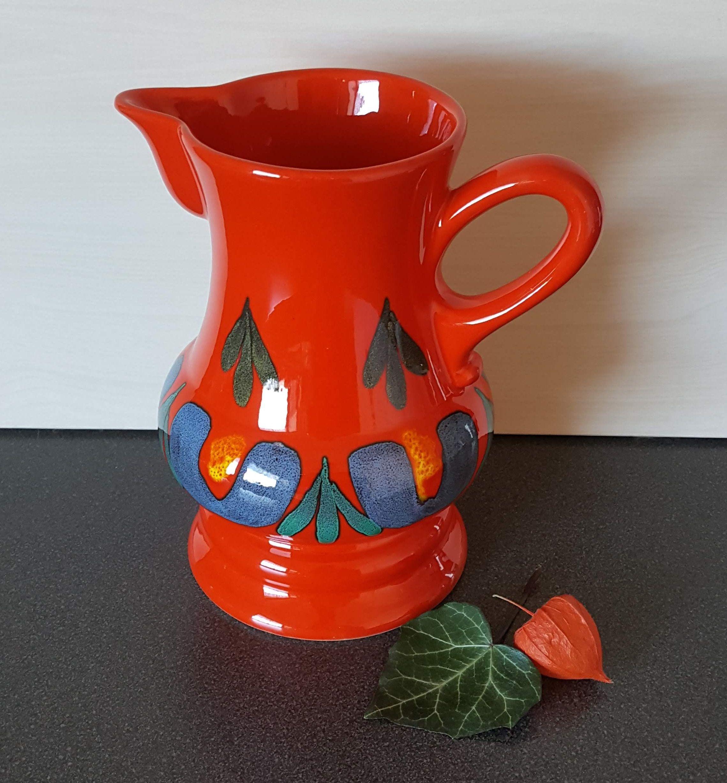 Wachtersbach Pitcher Orange German Vintage Pottery From The 1970s Vintage Pottery German Ceramics Pottery