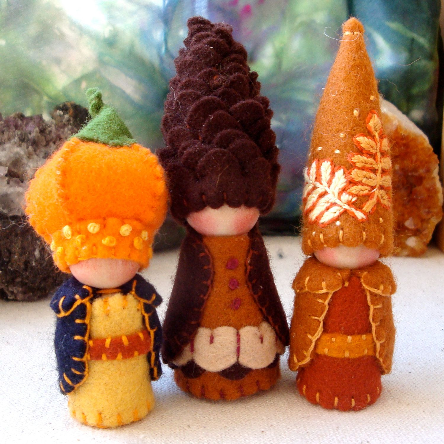 Photo of Tall Pine Cone Gnome Waldorf Storytelling Natural Dollhouse Doll