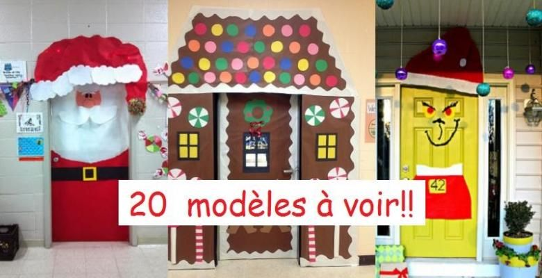 20 mod les de d corations de no l pour les portes for Decoration porte noel ecole