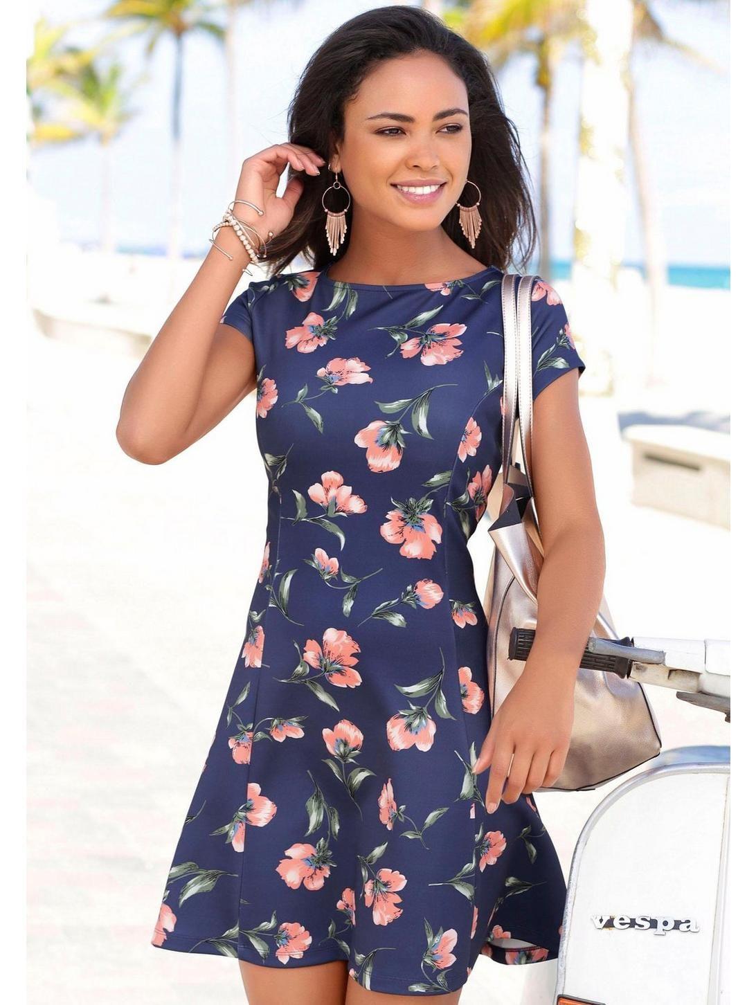 da03cc67244a Lascana - LASCANA Scuba-Kleid schmeichelnden Teilungsnähten blau-rosé im  heine Online-Shop kaufen