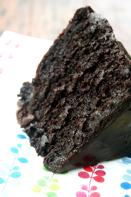 Double Dark Chocolate Cake with Black Velvet Icing #cake #food