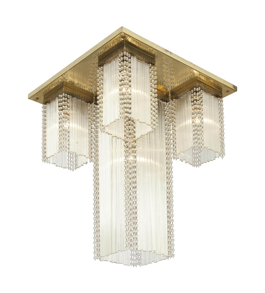 VIENNESE A Brass and Glass Ceiling Light, circa 1905 23 in. (58.4 cm.) drop, 18¾ in. (48 cm.) square