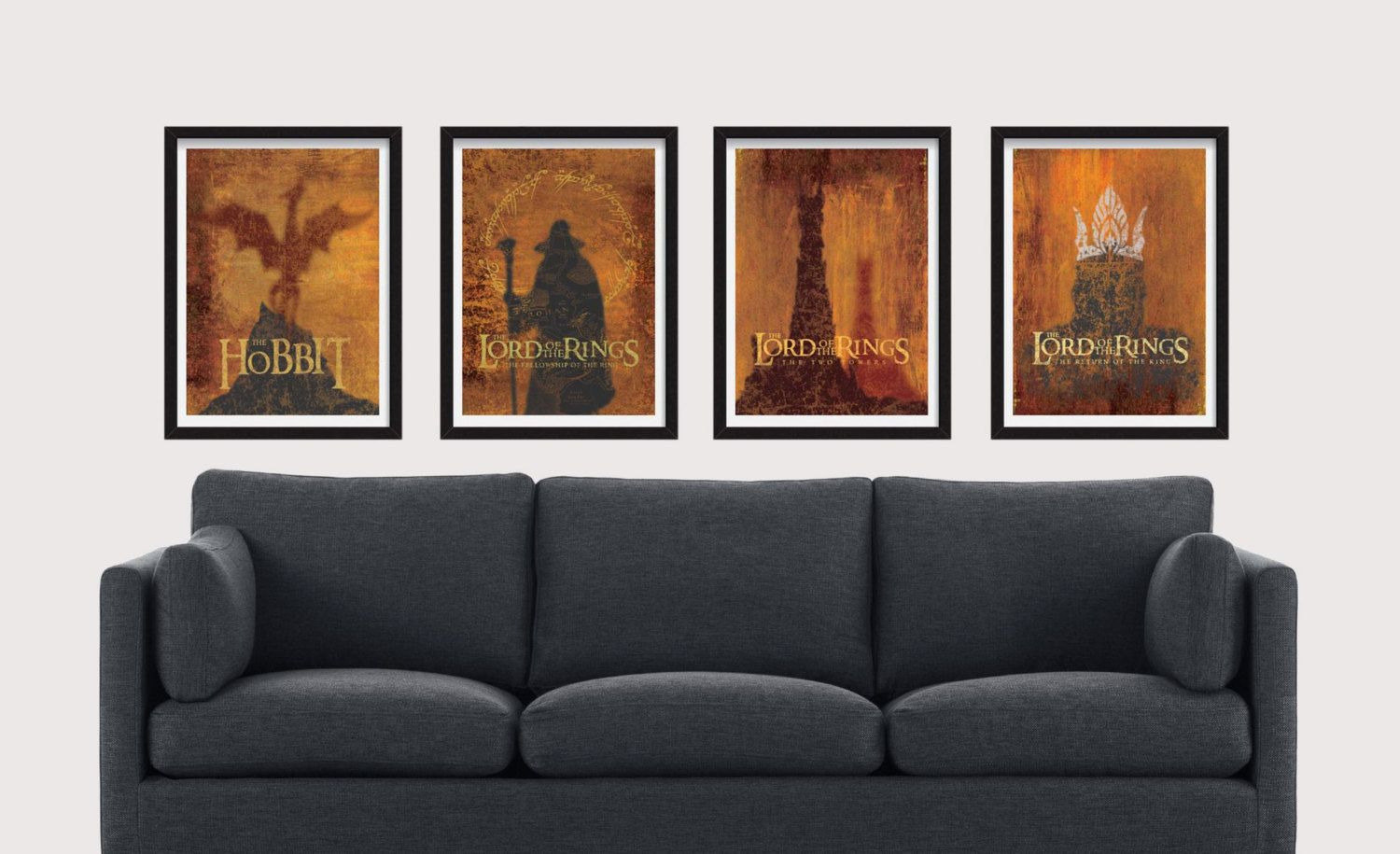8 5 X 11 Tolkien Set Includes 4 Premium Prints For The Hobbit And The Lord Of The Rings Trilogy By J R R Tolkien Prints Poster Living Furniture