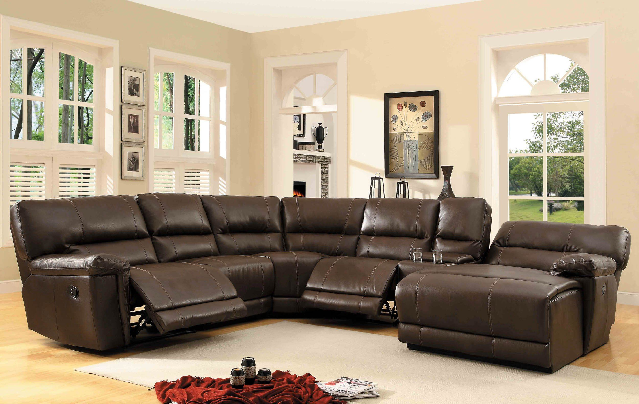 Amazon Com Homelegance 6 Piece Bonded Leather Sectional Reclining Sofa Wit Sectional Sofa With Recliner Sectional Sofa Comfy Leather Reclining Sectional Sofa