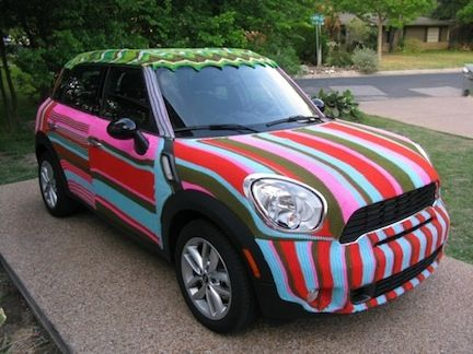 someone yarn bombed a mini ;) i should do this to mine!