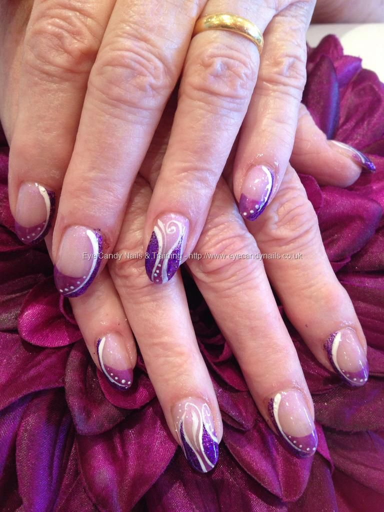 Purple glitter freehand nail art | The NAILS have it... | Pinterest ...