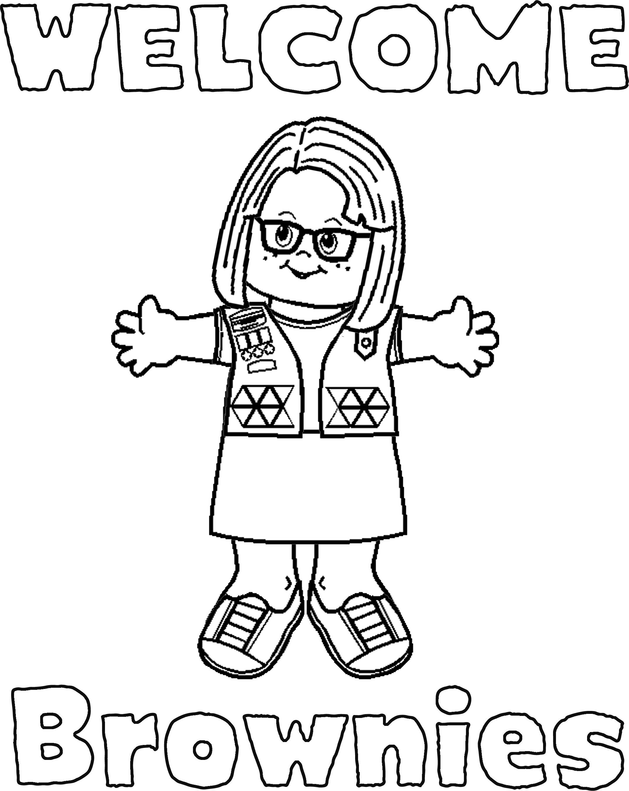 girl scout coloring pages welcome signs for daisies and brownies - Girl Scout Camping Coloring Pages