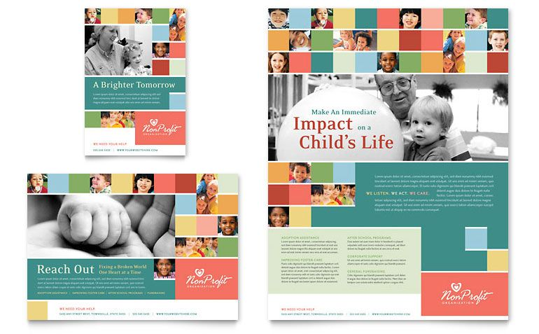 non profit association for children flyer ad template design
