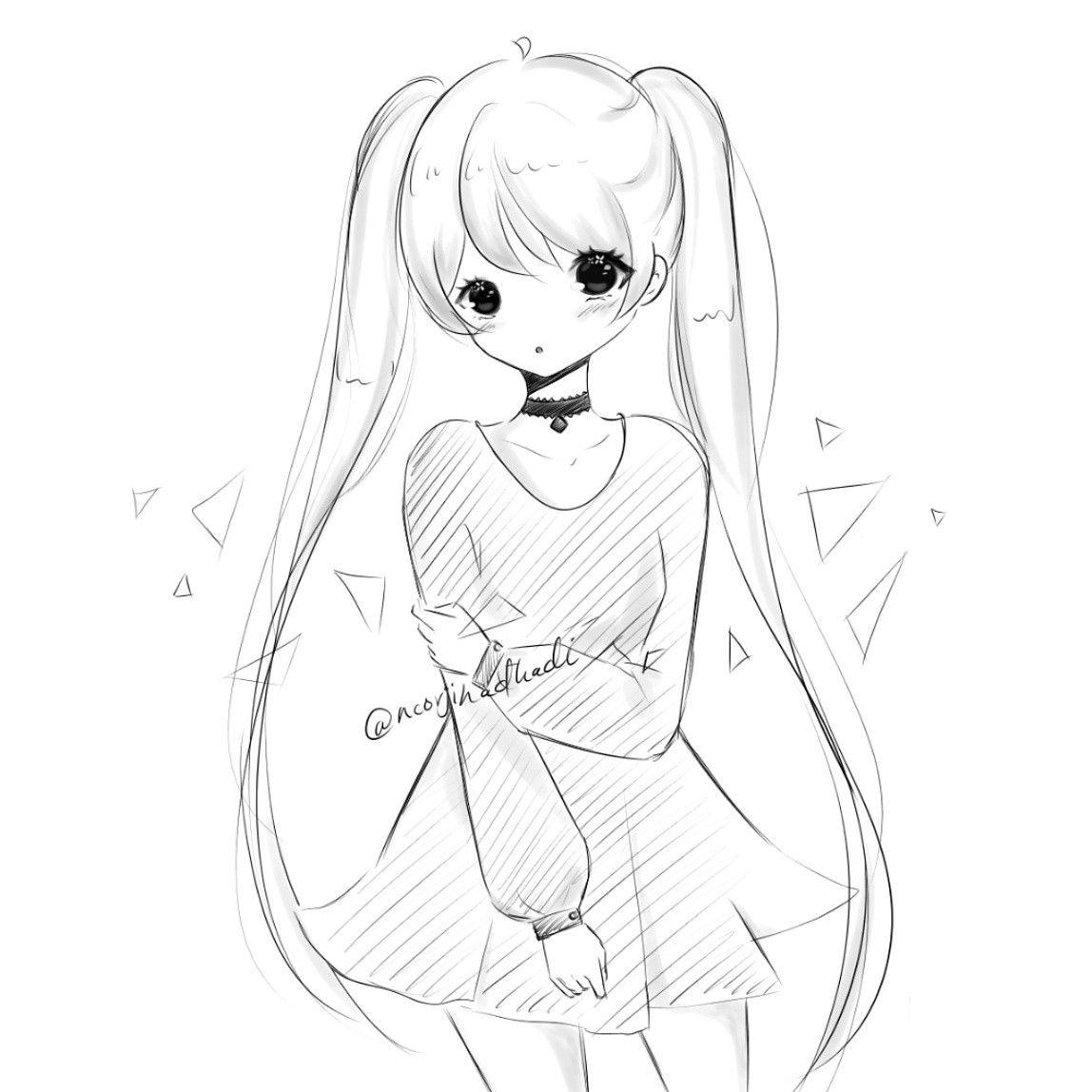 Ig Noorjihadhadi Sketch Anime Draw Drawing Animegirl Doodle Kawaii Drawings Sketches Cartoon Drawings