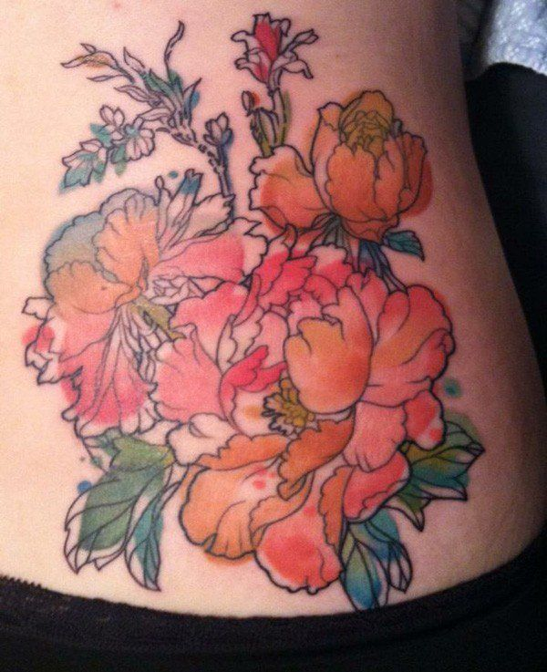 Peony Watercolor Flower Tattoos: 50 Peony Tattoo Designs And Meanings