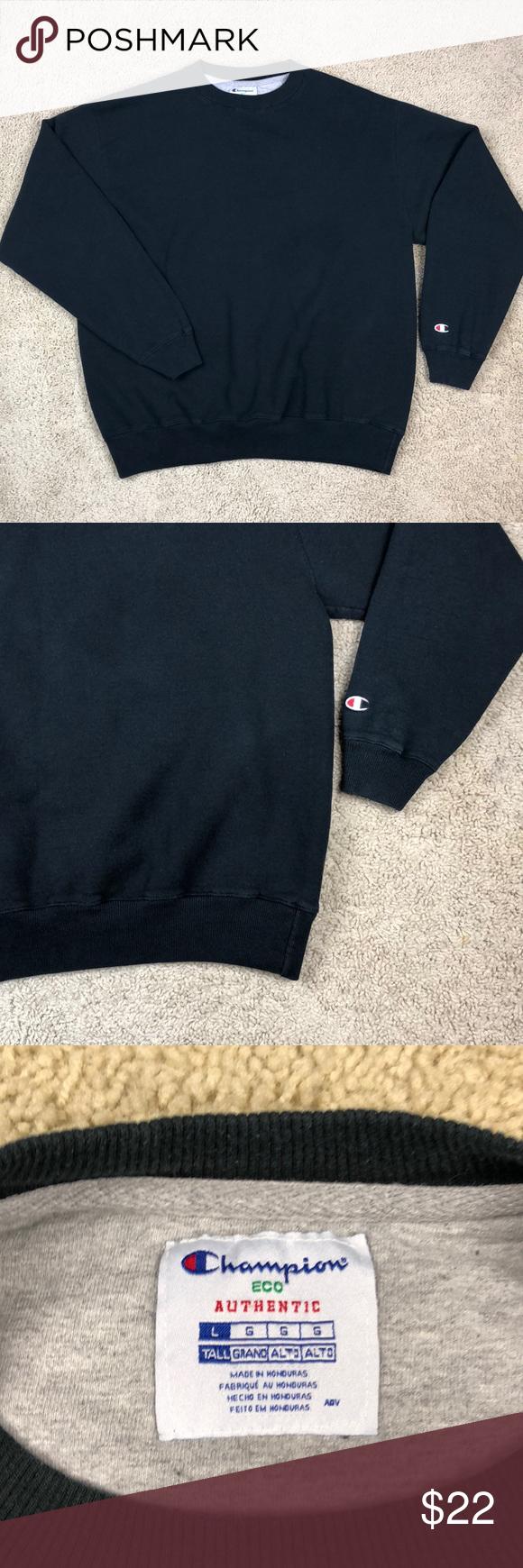 Champion Eco Authentic Black Crewneck Sweater Lg Black Crewneck Crew Neck Sweater Fashion [ 1740 x 580 Pixel ]
