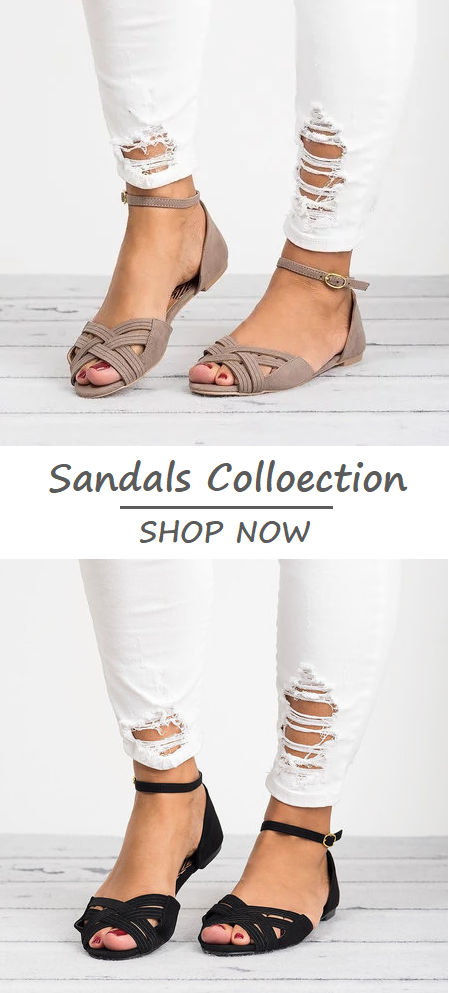 505594854  32.29 USD Sale! SHOP NOW! Free Shipping Women Plus Size Flats Daily  Adjustable Buckle Sandals