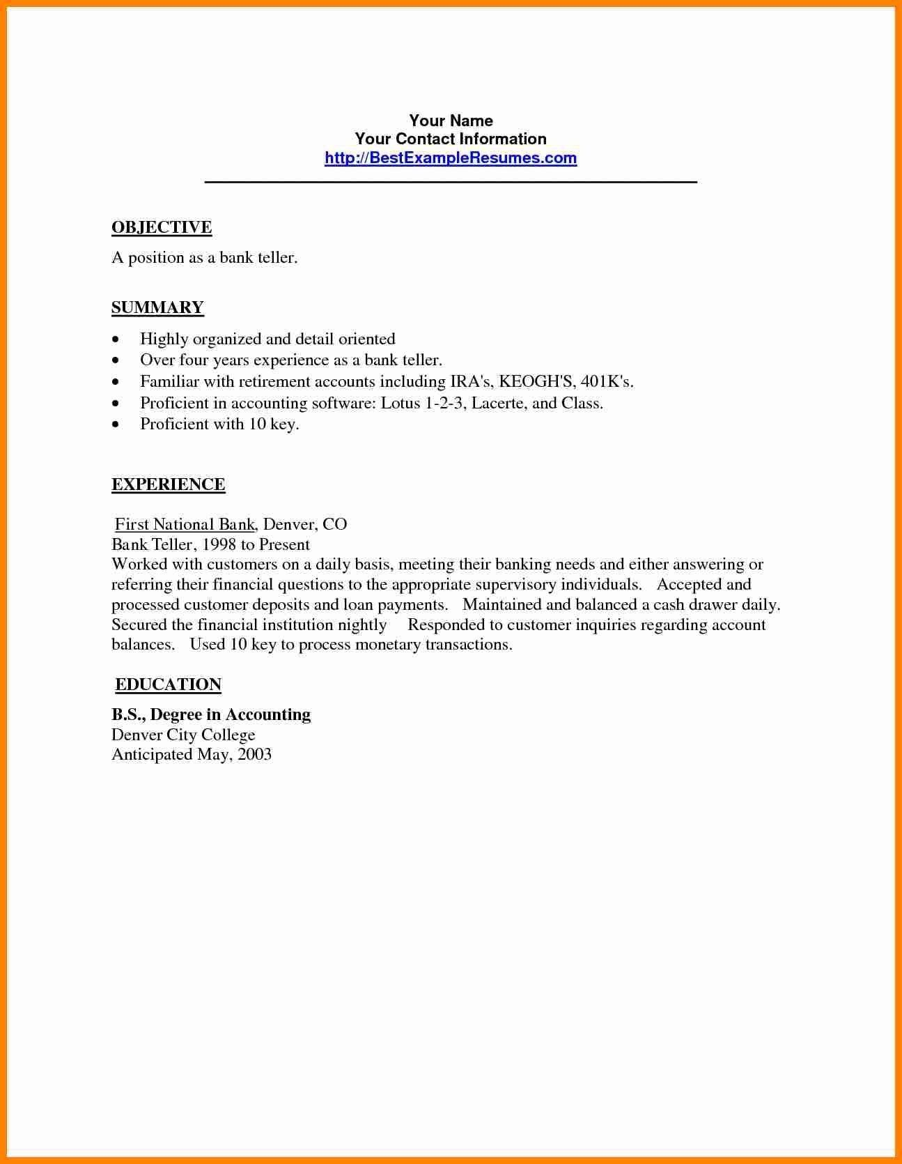23 Bank Teller Cover Letter Valid Sample Resume For