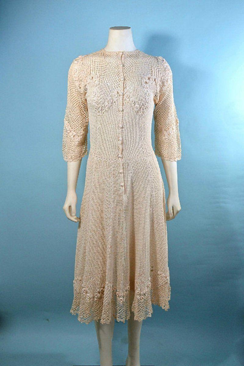 Vintage s cream crochet boho midi dress romantic bohemian