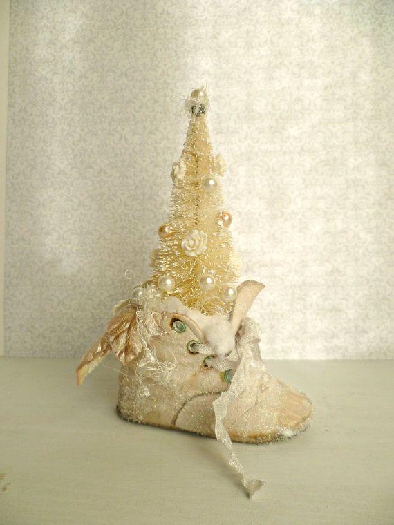 Vintage Baby Shoe Ornament Shabby Chic by ProvencalMarket on Etsy