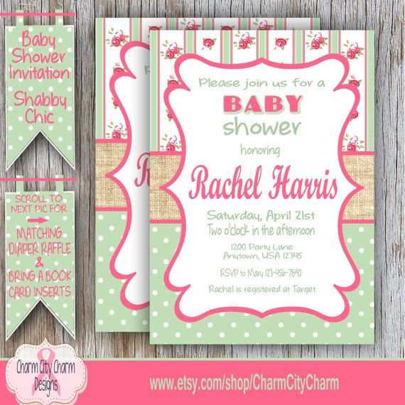 Burlap Baby Shower Invitation Shabby Chic Baby by charmcitycharm