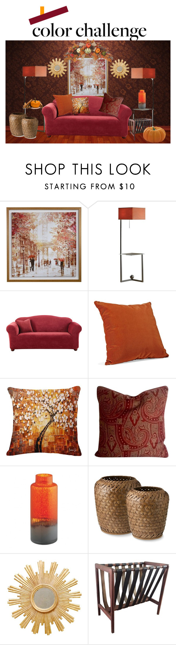 """Pumpkin & Burgundy"" by yvette-colon ❤ liked on Polyvore featuring interior, interiors, interior design, home, home decor, interior decorating, Hubbardton Forge, Sure Fit, Eddie Bauer and Worlds Away"