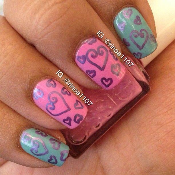 Heart Nail Nails Nailart Nailstterns Designs Pinterest