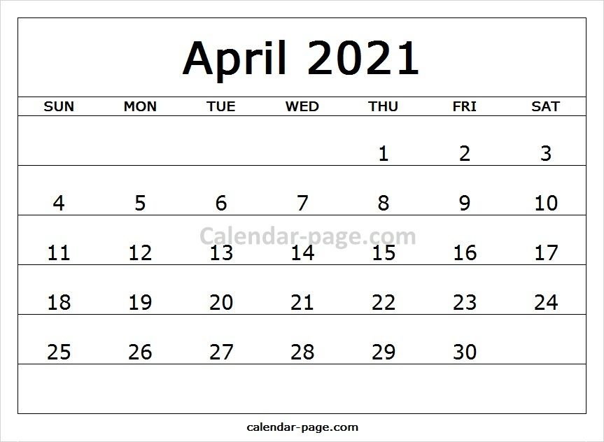 Blank Template Calendar 2021 April Printable Calendar Pages