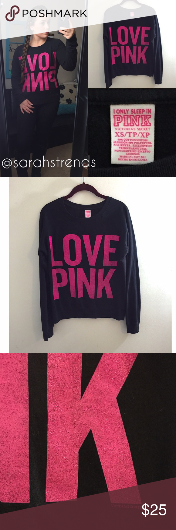 VS PINK Crewneck | Pink sparkles, vs Pink and Pink black