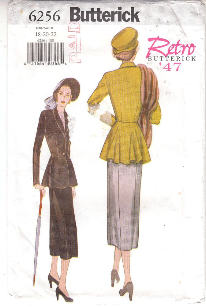 Fitted Jacket Skirt Retro 1947 Butterick Sewing Pattern 6256 Sz 18 ...
