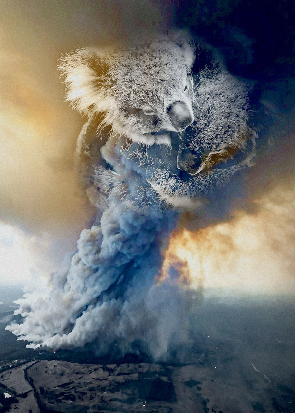 An art inspired by the forest fire that happened in Australia which left thousands of Koalas, Kangaroos and other wildlife homeless.  #climatechange #globalwarming #australia #earth #bushfire #fire #flames #smoke #koala #bear #wildlife #forest #nature #healtheworld