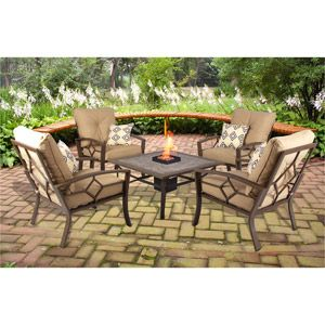 Kennedy 5 Piece LP Gas Fire Pit Patio Conversation Set Seats 4 Wish List G
